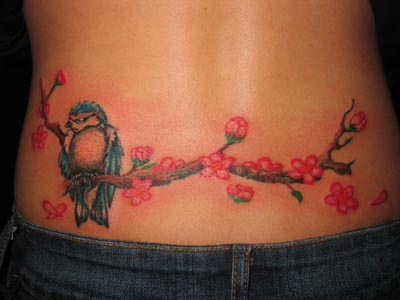 cherry blossom lower back tattoo