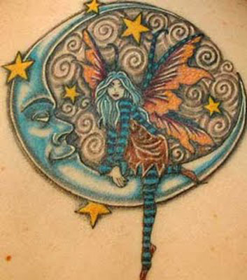 Fairy moons and star tattoos, buy fairy moon and star tattoo flash