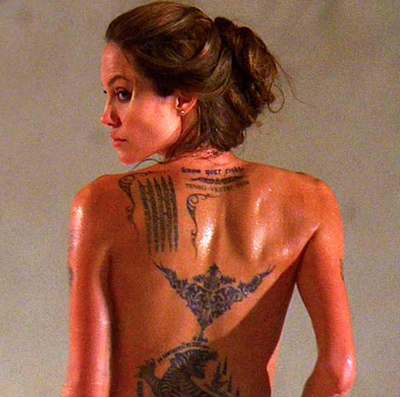 Actress Angelina Jolie has added a new tattoo