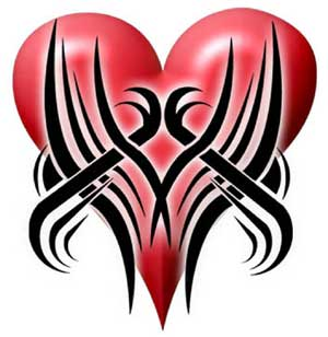 broken heart tribal tattoos girl tattoos design. Black Bedroom Furniture Sets. Home Design Ideas
