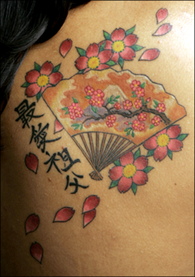 Women Upper Back Japanese Cherry Blossom Tattoos Picture 10