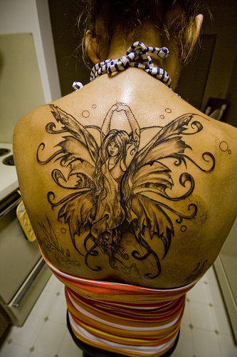 Picture Upper Back Fairy Tattoos ~ Women Tattoos Ideas