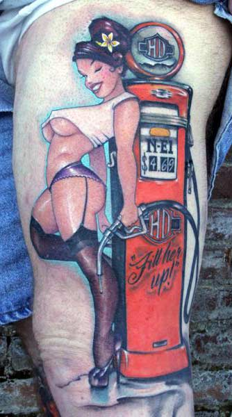 bowling pin up girl tattoos