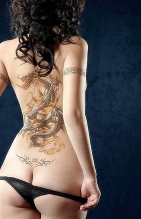girl back tribal tattoos