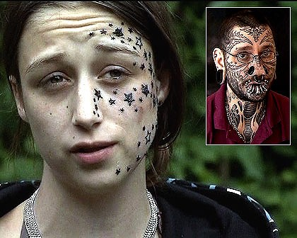girl with stars on her face from tattoos