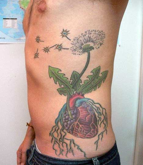 heart and flower tattoos