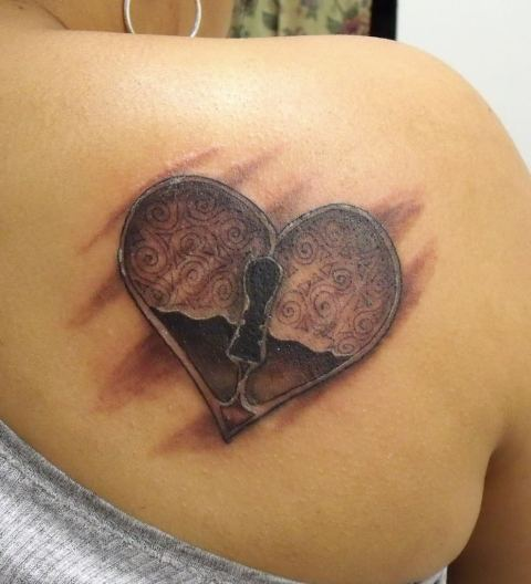 heart and key tattoos