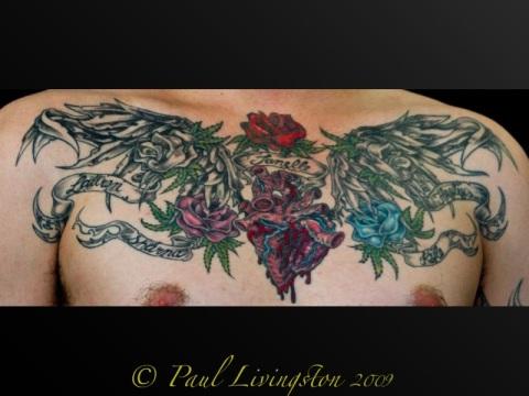 heart flower tattoos