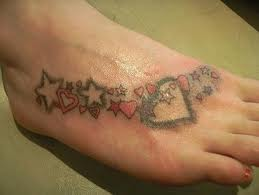 heart tattoos on foot