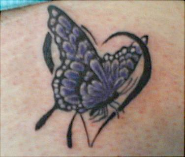 heart with butterfly tattoos