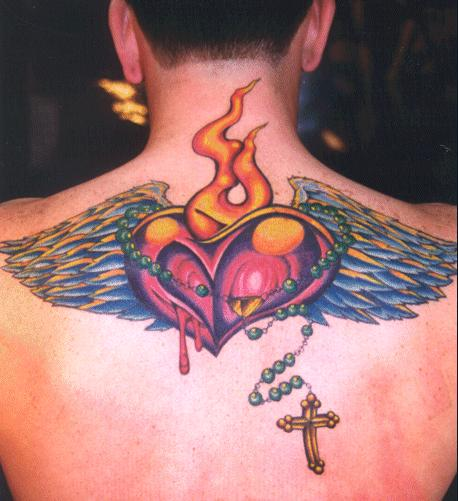 heart with rosary tattoos
