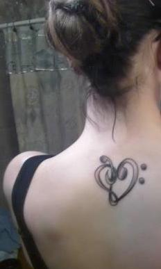 treble clef heart tattoos