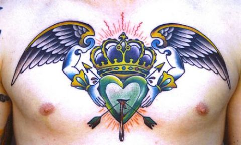 wings heart and halo tattoos