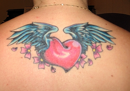 wings with heart tattoos
