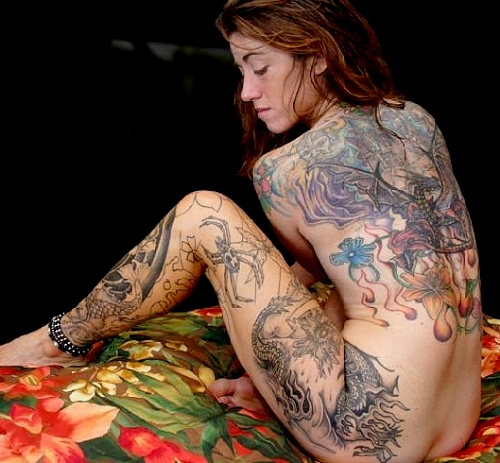 Japanese Gheisa Tattoo With Black Ink Color Image For Girls